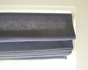 Ready-Made Classic Roman Shade,  Window, Hemp/Cotton, Indigo Blue Blind