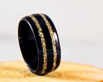 Wood Ring - Ebony Ring - Gold Rings For Women - Unique Gold Wedding Band - Wood Ring Women - Unique Engagement Ring - Black Ring