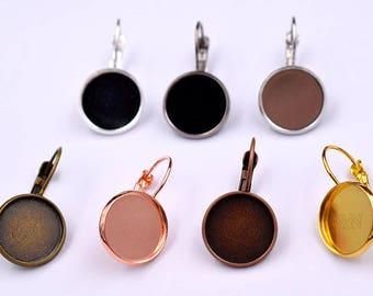 50pcs Bezel Earring Blanks-12mm Bezel Earring-Bezel Leverback earring hooks with trays-Cabochon Settings Earring Trays-7 Color-ALL size