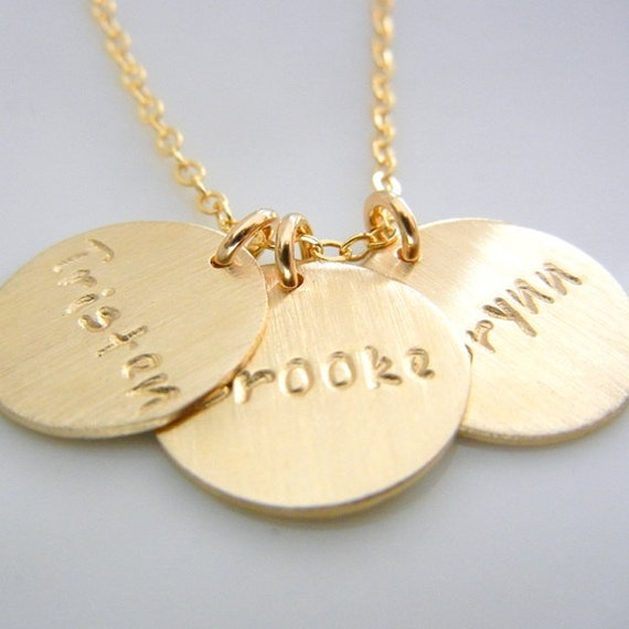 Three charm name necklace custom gold pendants 14k gf mozeypictures Image collections