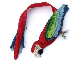 Parrot jewelry, red parrot statement necklace - macaw jewelry, bird necklace