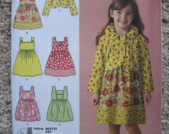 UNCUT Child's Dress or Jumper and Jacket - Size 3 to 8 - Simplicity Pattern 2680
