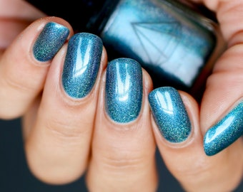 Tide down - a turquoise holo multichrome UK handmade indie nail polish