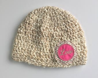 Love Valentine's Day Beanie, Ready to Ship, Crochet Girls Hat, Girls Beanie, Girl Hat, Girls Winter Hat