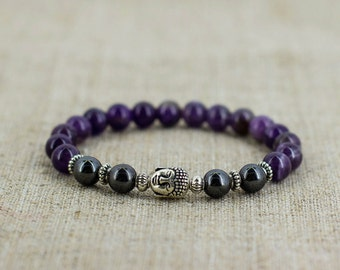 Buddha bracelet Amethyst jewelry Yoga jewelry Yoga gift for mom gift for girlfriend gift for boyfriend gift for men gift for wife gift women