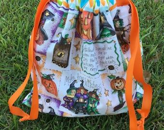 Halloween Bag, Handmade Bag, Lined Bag, Kid Bag, Halloween Print, Trick or Treat Bag, Personalized Halloween Bag, Monogrammed Bag, Candy Bag
