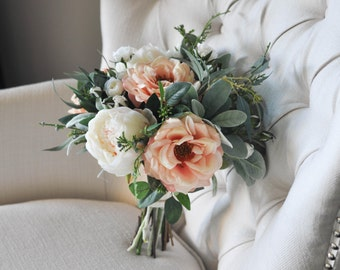 Peach Pink & Ivory Silk Bridal Bouquet   Roses, Peonies, Juniper, Eucalyptus, Lamb's Ear   Made to Order Spring and Summer Bridal Bouquet