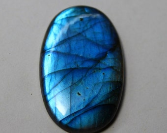 Superb Quality !!100% Natural Blue Flash Labradorite Smooth Cabochon Oval Shape 45x27mm Approx Good Quality On Whole Sale Price 70CT#2381