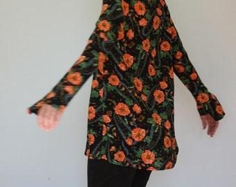 Orange Bold Flower Bell Sleeve Tunic Relaxed Paysley Caftan Medium