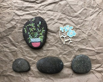Small Hand Painted Rock: Spring Branches painting, Spring Decor, Plant Painting, Gardener Gift, botanical