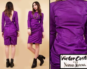 On Sale 80s Vtg Purple VICTOR COSTA Neiman-Marcus Taffeta Structured Mini Dress / Futuristic New Wave Barbie Avant Garde Long Sleeve / Xs