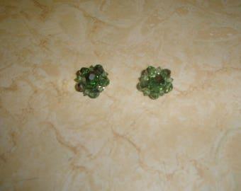 vintage clip on earrings silvertone green aurora borealis glass bead clusters