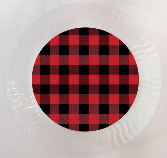 Like this item? & Red and Black Buffalo Plaid Plastic Plate Set of 12