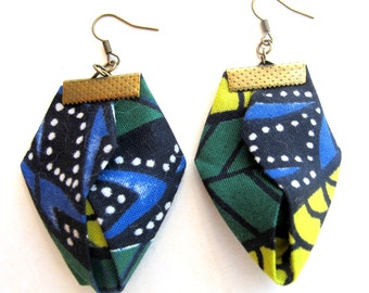 Origami African clothing earrings, African clothing fiber earrings, African wax fabric earrings, tribal clothing