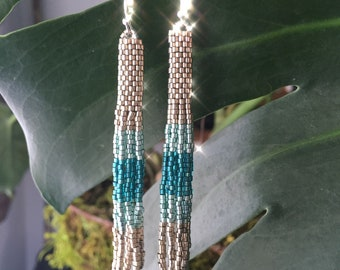 """Silver and Turquoise Handwoven Delica Seed Bead """"Judy"""" Tassel Fringe Earrings"""