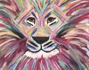 Lion 10x10 Canvas Painting