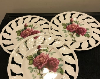 Vintage Porcelain Plates - Set of Three - I. Godinger and Co Plates with Red Roses and Leaf Edges Farmhouse Country