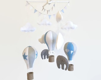 Baby Mobile / Hot Air Balloon Mobile / Crib Mobile / Felt Mobile / Elephant Wooden Mobile / Clouds Mobile / Nursery Mobile / Blue and White