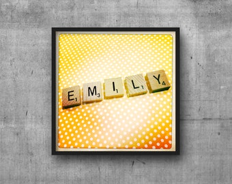 EMILY - EM - Name Art - Scrabble Tile Name - Art Photo - Photography Art Print - Name Sign