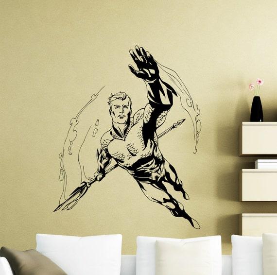 Aquaman Wall Decal DC Comics Superhero Bathroom Vinyl Sticker