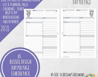 SALE! - A5 - 2018 - Day Per Page Starter Pack - Planner Inserts for Filofax Kikki K -  RUSSELL Design