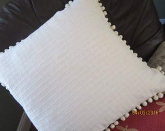 Summer cotton windowpane textured throw pillow with pompom trim, two sizes