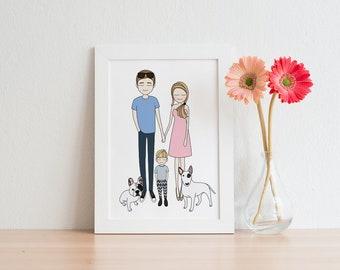 Custom Family Portrait, Couple Portrait, Custom portrait, custom Illustration, custom drawing, mothers day gift, printable wall art