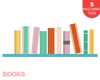 Books Clipart, Stack of Books Clipart, Books on Shelf Illustration, Clip Art for School, Instant Download Clipart