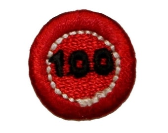 ID 0060C Red 100 Poker Chip Patch Casino Money Embroidered Iron On Applique