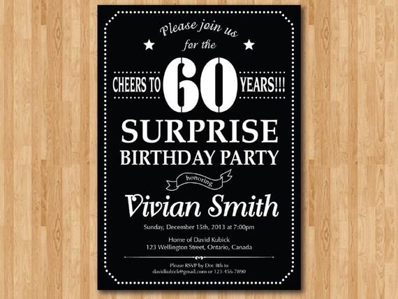 Surprise 60th birthday invitation Chalkboard Birthday Party