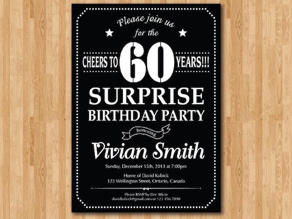 Surprise 60th birthday invitation chalkboard birthday party like this item filmwisefo Images