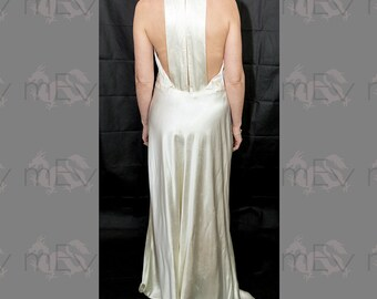 Glamorous 1930s Satin Racer Back T Back Bias Cut Full Length Gown, for the vintage barefoot bride perhaps, back interest