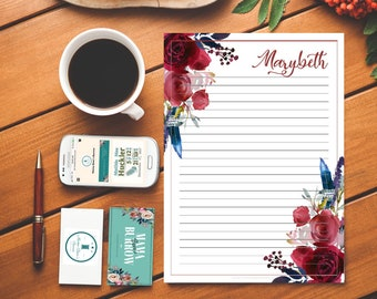 Customizable Stationary: Merlot and Navy Pattern