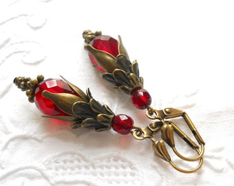 red victorian earrings dangle earrings red earrings red jewelry red and bronze chrystal red vintage style earrings red earrings