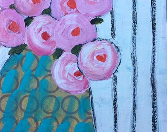 Mixed Media Original Mini Still LIfe Floral Painting