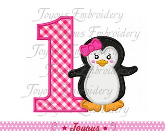 Instant Download Girl Penguin Number 1 Applique Machine Embroidery Design NO:1465