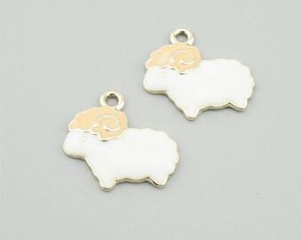 10pcs 19x20mm White Sheep Charm Pendants JL1920
