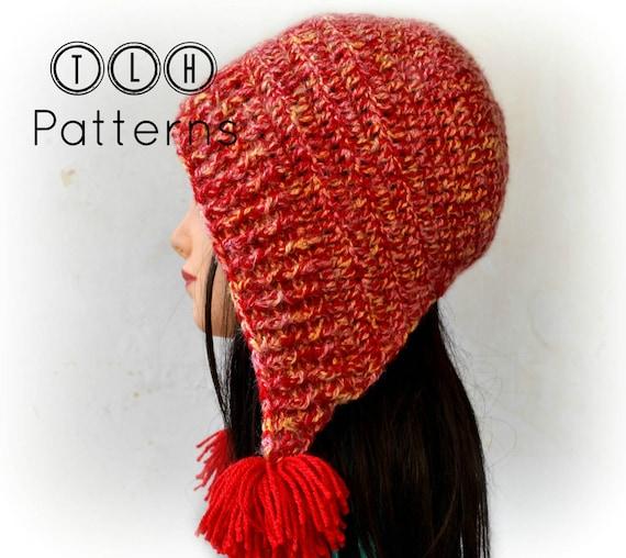 Crochet Hat Pattern Tassel Hat Crochet Bonnet Style Hat Hooded