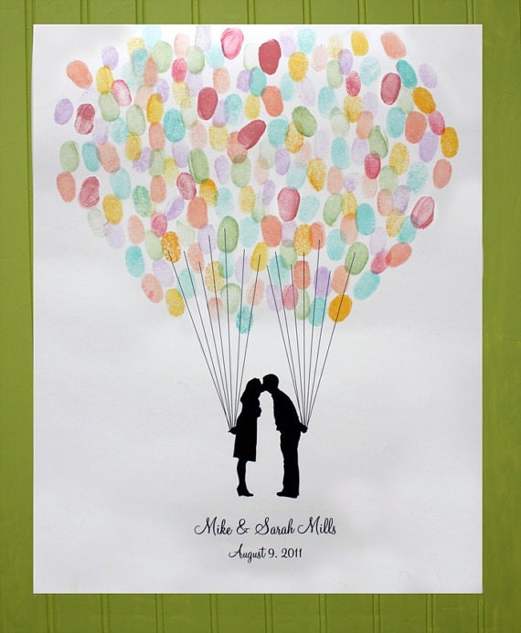 Custom Silhouette Wedding Guest Book Alternative Print with