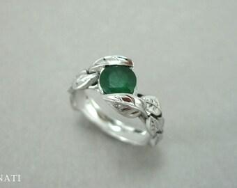 Emerald Leaf Engagement Ring, Emerald Engagement Ring, Emerald Leaf Ring, Antique Emerald Leaves Ring, Emerald Antique Floral Forest Ring