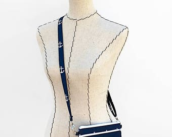 Large Crossbody Purse for iPhone 8 Plus Otterbox, Crossover Bag, Navy Anchors