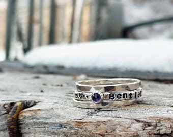 Birthstone Silver Stacking Name Ring Set.  3 Rings.  Argentium Silver .935 Personalized