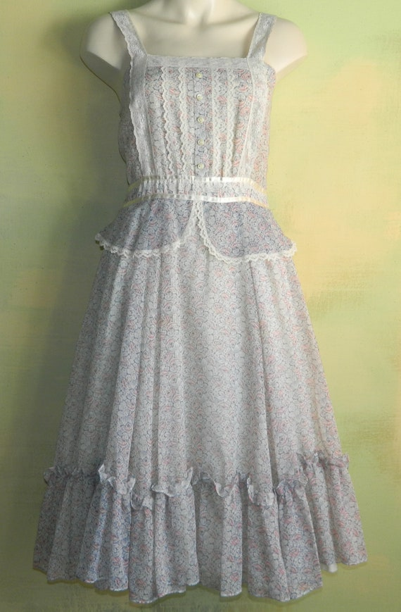 S 70s Prairie Sun Dress Gunne Sax Corset Lace Pastel Violet And Rose Victorian Floral Gauze Sleeveless Little House Hippie Wedding Peplum by Etsy