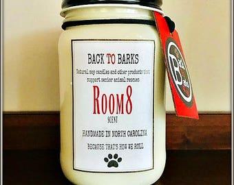 ROOM8 Soy 16oz jar candle Handmade Back to Barks Masculine Scent