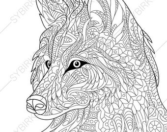 Wolf coloring page | Etsy
