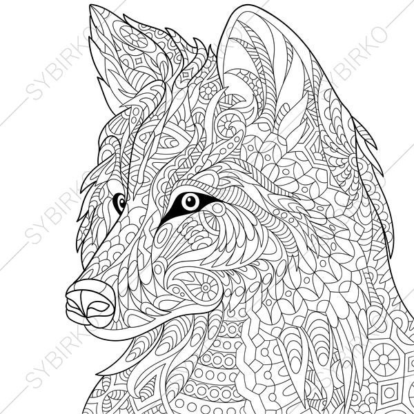 Wolf. Coloring Page. Animal coloring book pages for Adults.