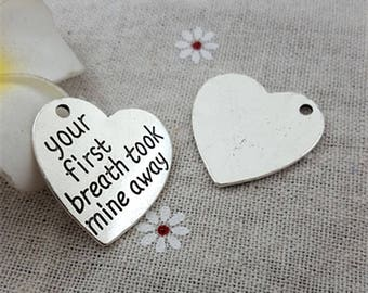 2 Your First Breath Took Mine Away Charms Antique Silver New Baby Birth Child Love Family Heart Newborn Parent Bangle Bracelet Pendant #1050