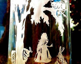 Etched Alice in Wonderland inspired glasses (Made to Order)
