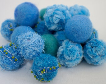 Felt Beads, Extra large Beads, Blue and Green shades Beads, Felt Balls Felt Beads Felted Balls Wool Beads, Round