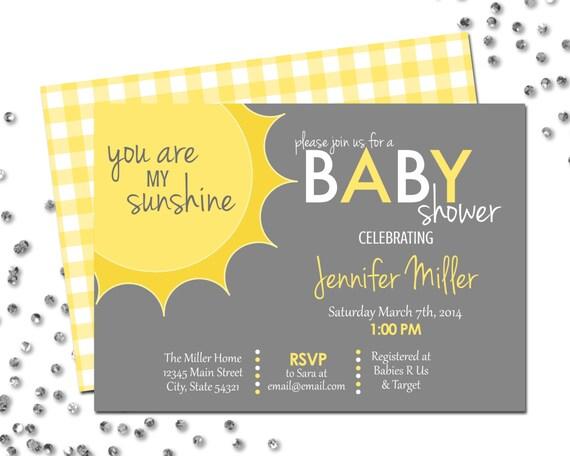 Attractive You Are My Sunshine Baby Shower Invitation Corner Sun Grey